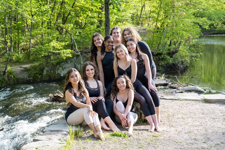 clockwise starting at top left Angelina, Chelsea, Emily, Hayden, Meghan, Kaitlyn, Amiel, Julia, Selenna