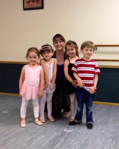 Stephanie Blacksmith with kinderballet students